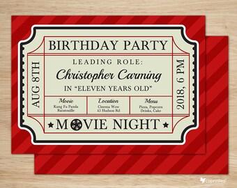 Classic Movie Ticket Birthday Party Invitation - birthday party, invitation, movies, cinema, ticket, fun, admit one, classic, elegant, movie