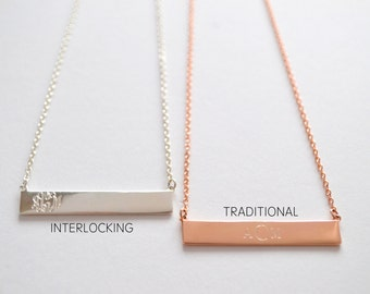 Three Initial Bar Necklace