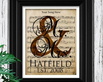 8th ANNIVERSARY BRONZE Gift | Custom Sheet Music Art | 100% Cotton Art Paper | Bronze Anniversary Gift | 8th Bronze Anniversary Date Gifts