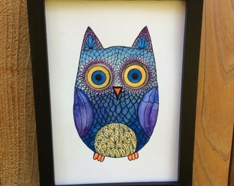 "Original Watercolor and Ink, ""Hoot"" 5 by 7"