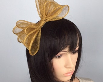 Simple Bow Mustard fascinator Ochre Bow on Aliceband hair band Sinamay Fascinator wedding day fascinator mother of bride Ascot races