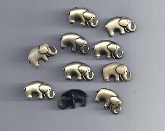 10 Pcs Two-Hole Metal Buttons Elephant Shaped Bronze Tone Sewing Scrapbooking(100)