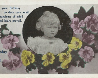 Original Vintage Greeting Card, Post Card, Birthday Card, Vintage Photo Card, Antique Picture G