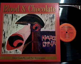 Rock LP - Elvis Costello and the Attractions - Blood & Chocolate, Columbia, Lyric sleeve