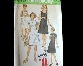 "Simplicity Pattern 9175 Simple to Sew Jiffy dress Size 12 1/2  Bust 35"" vintage 1970 ~ easy pattern ~ simple pattern ~ vintage dress pattern"
