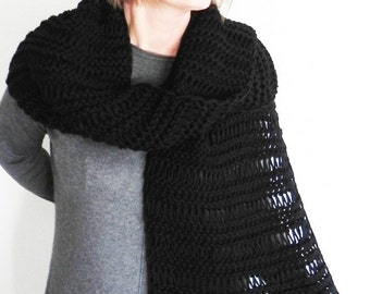 Super Soft chunky scarf Black scarf Winter scarf Knitted scarf Anti-Pilling Acrylic scarf Long scarf Lace pattern Eternity accesorries