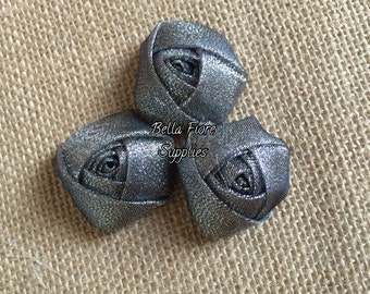 Gray Silver Mini Rolled Rosette Sparkle Glitter Flowers, 1.5  inch, Wholesale rosettes, DIY headband