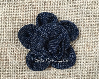 Dark Navy Blue Burlap Flowers, Dark Navy Burlap Flowers-3 inches, Burlap Flowers, Wedding Supply, Burlap Rose