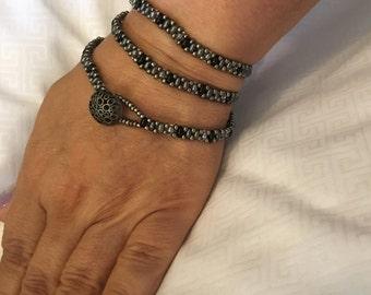 Gray and Black Superduo Three Wrap Bracelet