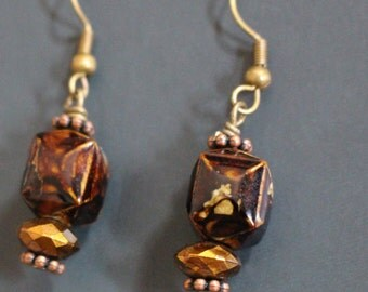 Brown and Copper Dangle Earrings