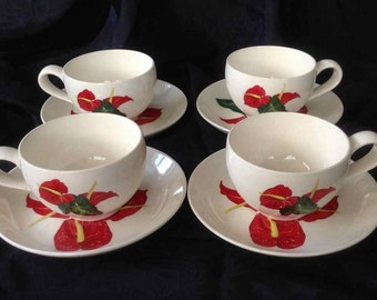 """Vintage Set of Four Santa Anita Ware """"Red Anthurium"""" Cups and Saucers - Flowers of Hawaii -  Made in USA - 1949"""