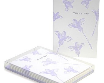 Lilac Flowers Letterpress Thank You Cards - Set of 6