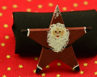 Handpainted Santa Star Pin