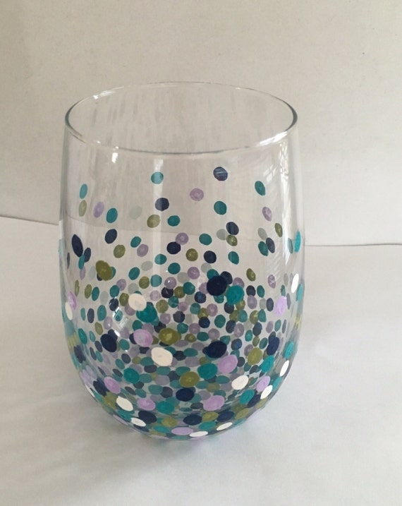 Hand painted stemless confetti wine glass by matua on etsy for Painted stemless wine glasses