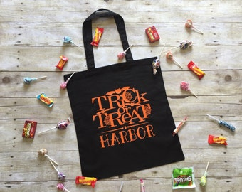 Trick or treat bag / halloween bag / personalized halloween bag / candy tote bag
