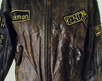 Vintage leather bomber jacket womens