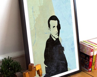 Doctor Who 9th Doctor Christopher Eccleston Poster Geekery Illustration Giclee Print on Paper Canvas Geekery Whovian Wall Decor
