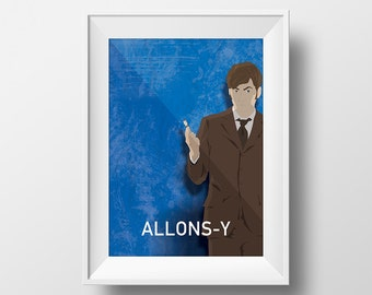 Doctor Who Allons-y David Tennant 10th Doctor Illustration Sci Fi Poster Print Giclee on Cotton Canvas and Paper Canvas Geekery Whovian