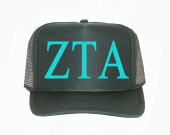 Zeta Tau Alpha Trucker Hat, Zeta Sorority Trucker Hat, Greek Letter Glitter Trucker Hat, Greek Sorority hat, zetataualpha greek apparel
