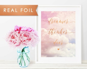 Dreamer Thinker Doer Nursery Pink Cloud Real Foil Art Print 11x14, 8x10, 5x7