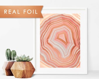 Pink Geode Foil Art Print 11x14, 8x10, 5x7