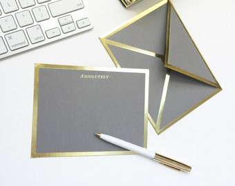 Absolutely Gray Card with Gold Foil Bordered Envelope