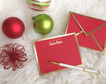 From the Desk of Santa Claus Red Card with Gold Foil Bordered Envelope