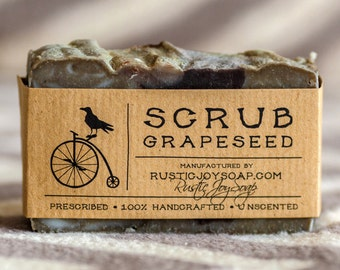 Soap Scrub grape seed, Rustic Soap, Handmad Soap, All Natural Soap, Unscented Soap, grape seed scrub, purple clay.