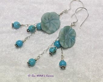 Sterling Silver Turquoise Earrings   Turquoise Jasper Flower Earrings   December Birthstone Earrings   Floral Gemstone Jewellery  A0453