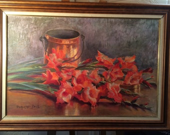 Beautiful Large Oil Painting of Red Flowers by Duquesne-Bonte