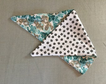 Teal-B&W Paws REVERSIBLE Dog Scarf