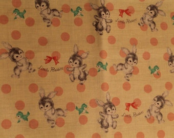 Little Rabbits on Yelllow Cotton Fabric  Remnant 14X22