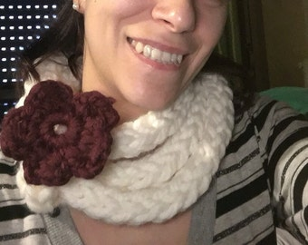 Neck warmer scarf with flower