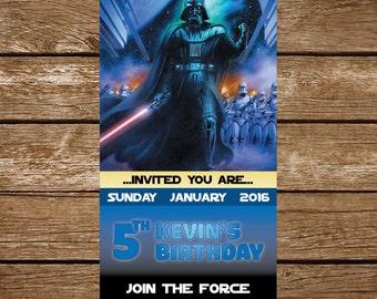 Star Wars Invitation, Star Wars Birthday Invitation, Star Wars Birthday Party Invite - Star Wars Party Printable - FREE card THANK YOU | M45