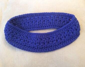 Blue Crochet Headband Ear Warmer