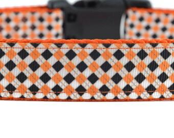 Argyle Dog Leash, orange dog leash, black dog leash, fall dog leash, Halloween dog leash, holiday dog leash, cool dog leash