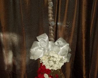 Red & White Wedding Broom