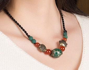 Classic Handmade Glaze/Ceramic Necklace. (X1468)