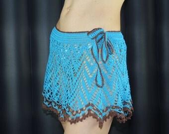 Beach skirt  FREE shipping Crochet  summer skirt blue brown crochet skirt