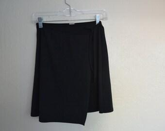 Vintage tie around wrap skirt - stretchy wrap skirt -90s grunge mini skirt
