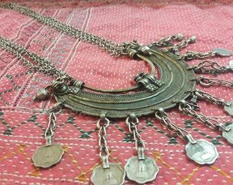 classic banjara CHANDIYA gypsy tribe kuthi ethnic moon shaped necklace ats