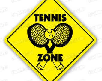 TENNIS ZONE Sign court signs player balls gift funny gag play game racquet hat