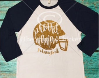Ladies Proud Mama Football Raglan with Glitter Helmet Shirt Personalized