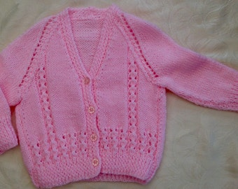 Baby Girls Pink Cardigan Hand Knitted age 18 mths (D2) pretty