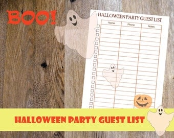 2017 Halloween planner printable, Halloween party printable, Halloween Party guest list, Halloween Printable, Letter Size, Instant Download