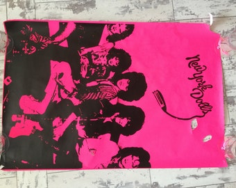 """Vintage poster Screen Printed New York Dolls torn from the back stage at the Brit Awards mid 90's Dayglo poster. 20""""x30"""""""