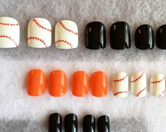 Baseball Fake Nails * Orioles Nails * Faux Nails * Glue On Nails * Petite Nails * Short Nails * Team Nails