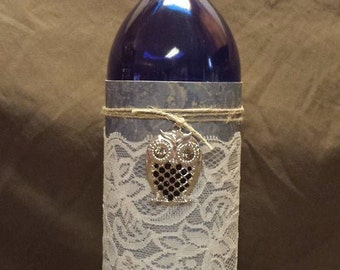 Recycled Wine Bottle with Owl Pendant