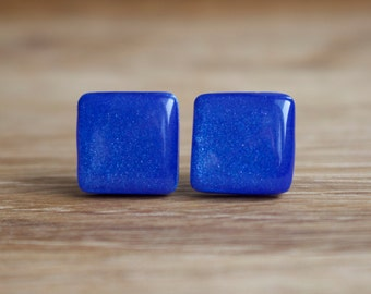 Blue Stud Earrings -  ULTRAMARINE SHEEN SQUARE Studs- blue earrings - blue studs - blue post earrings - surgical steel posts.