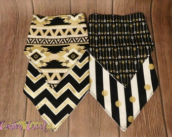 Set of 4 Black and Gold Metallic Bandana Bibs backed with Flannel - Complete with Snaps for Security!